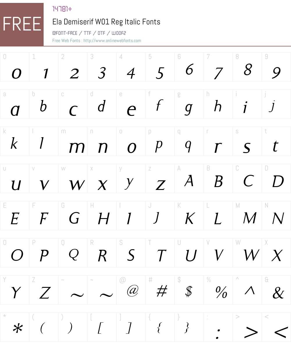ElaDemiserifW01-RegItalic Font Screenshots