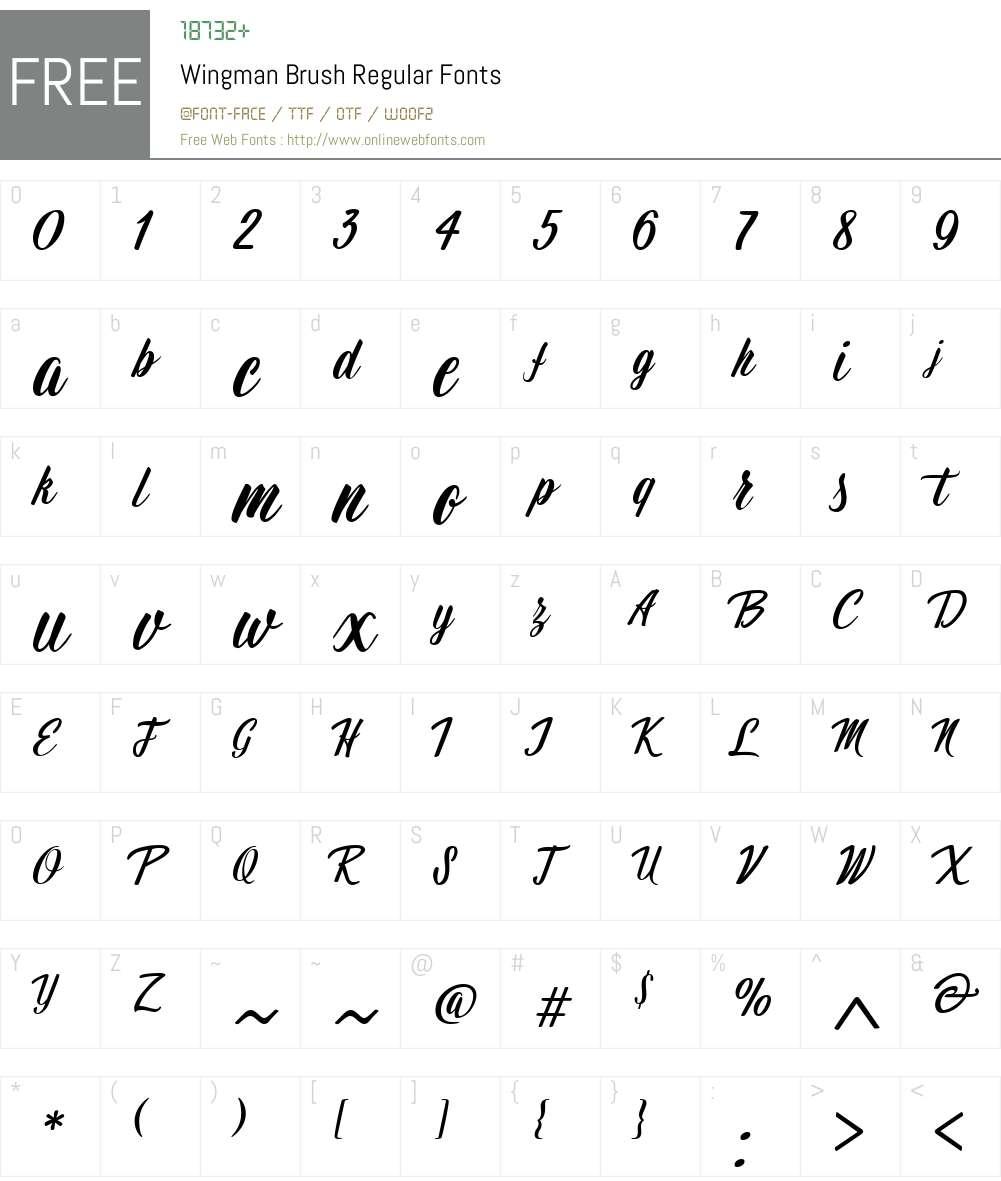 Wingman_Brush_Regular Font Screenshots