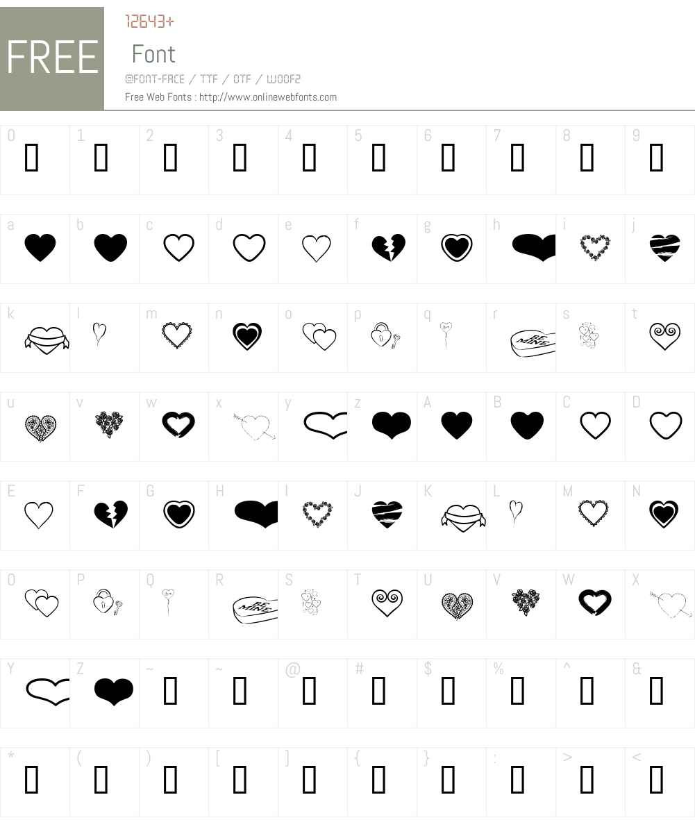 Hearts BV Font Screenshots