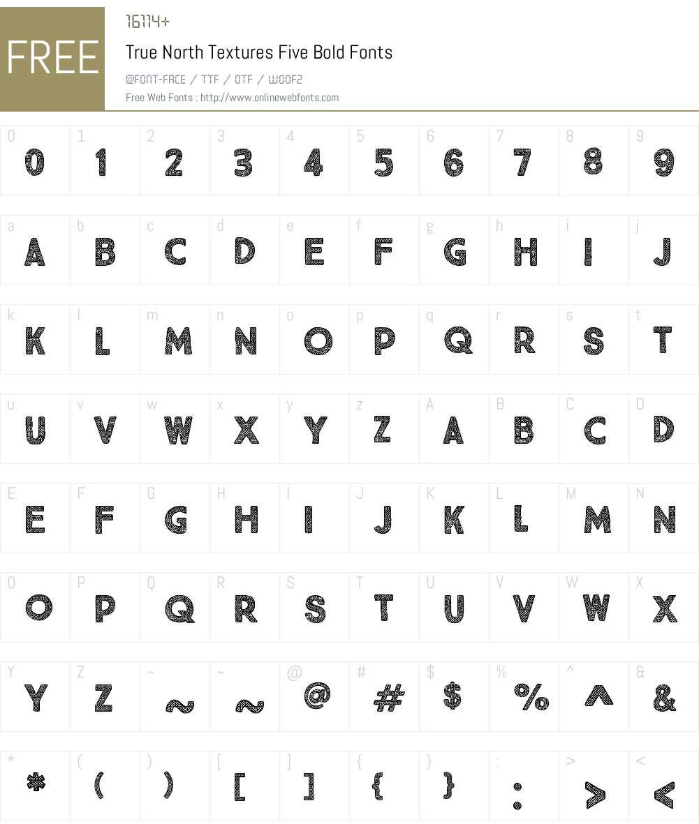 TrueNorthTexturesFive-Bold Font Screenshots