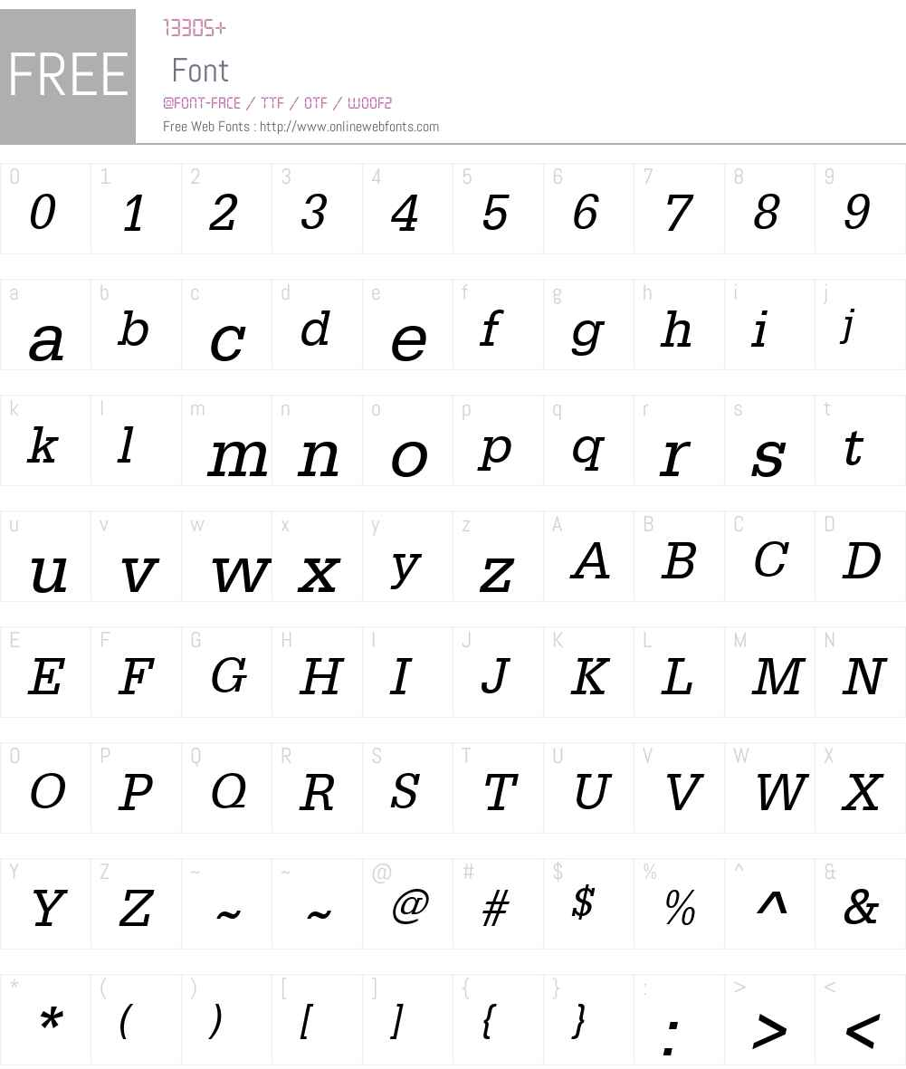 URWEgyptienneW01-NarrowObl Font Screenshots
