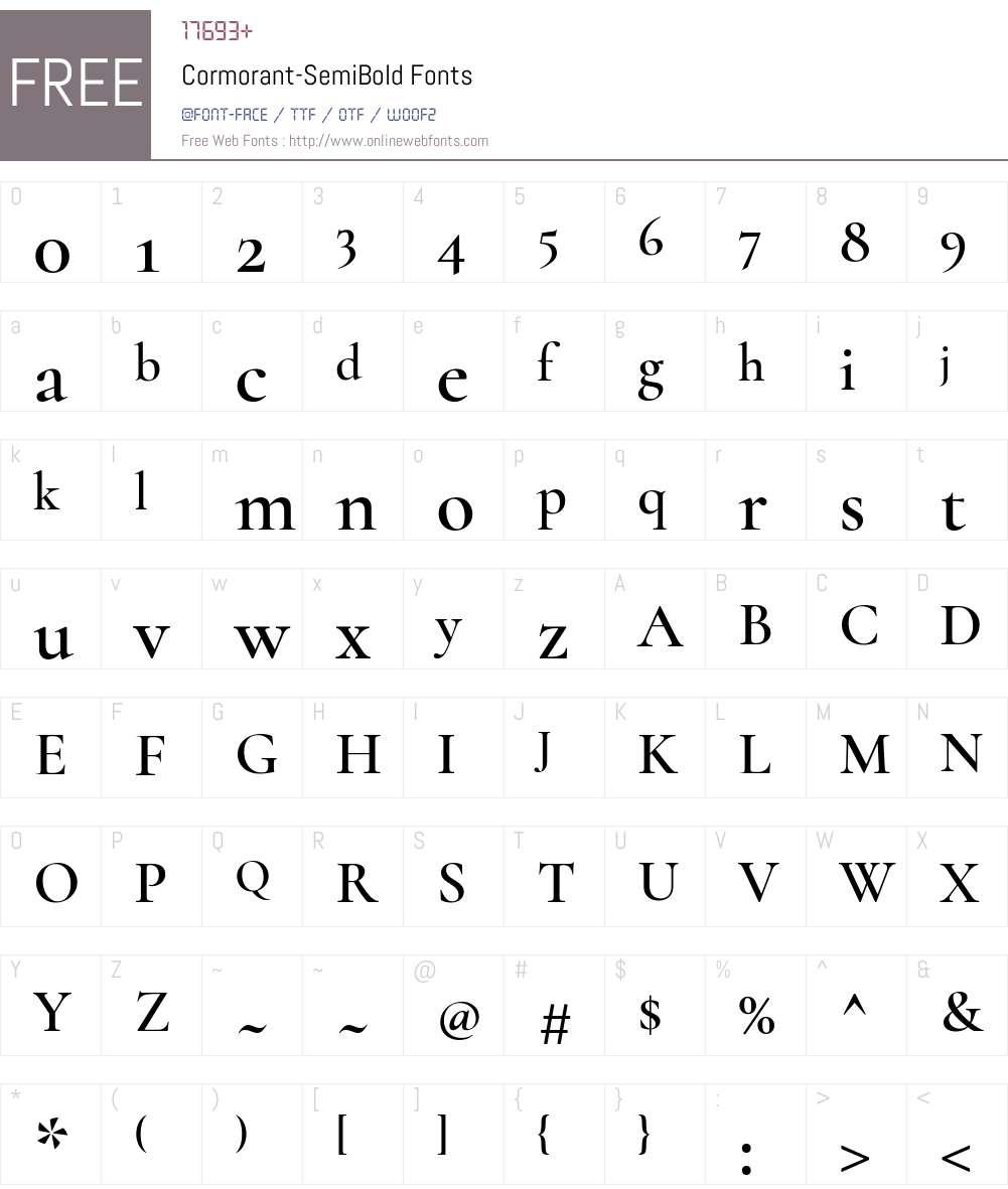 Cormorant SemiBold Font Screenshots