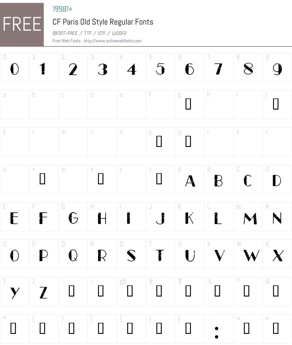 CF Paris Old Style Font Screenshots