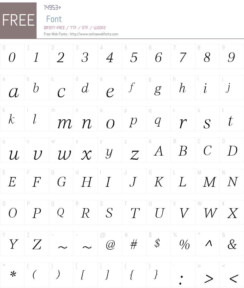 CivitaW01-ExtraLightItalic Font Screenshots