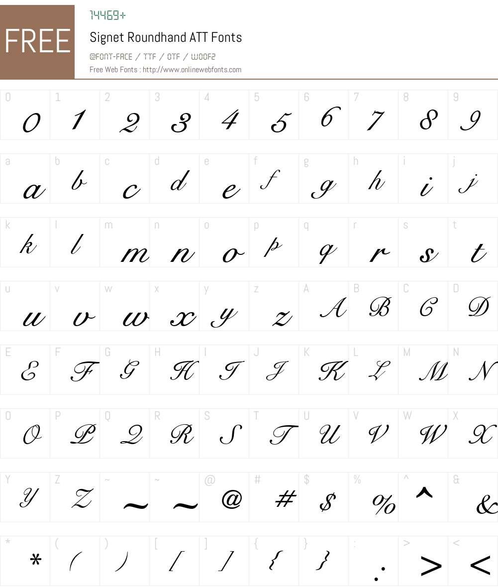 Signet Roundhand ATT Font Screenshots