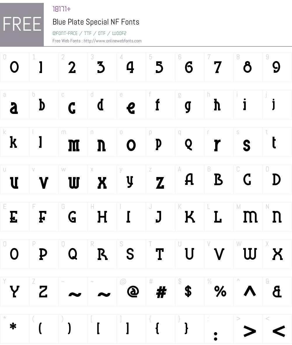Blue Plate Special NF Font Screenshots
