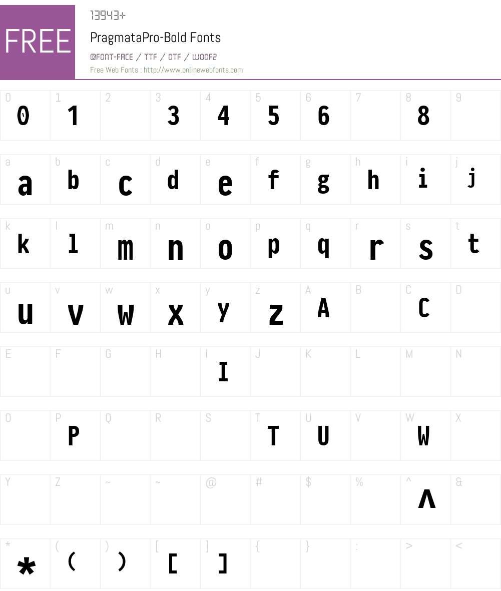 PragmataPro-Bold Font Screenshots