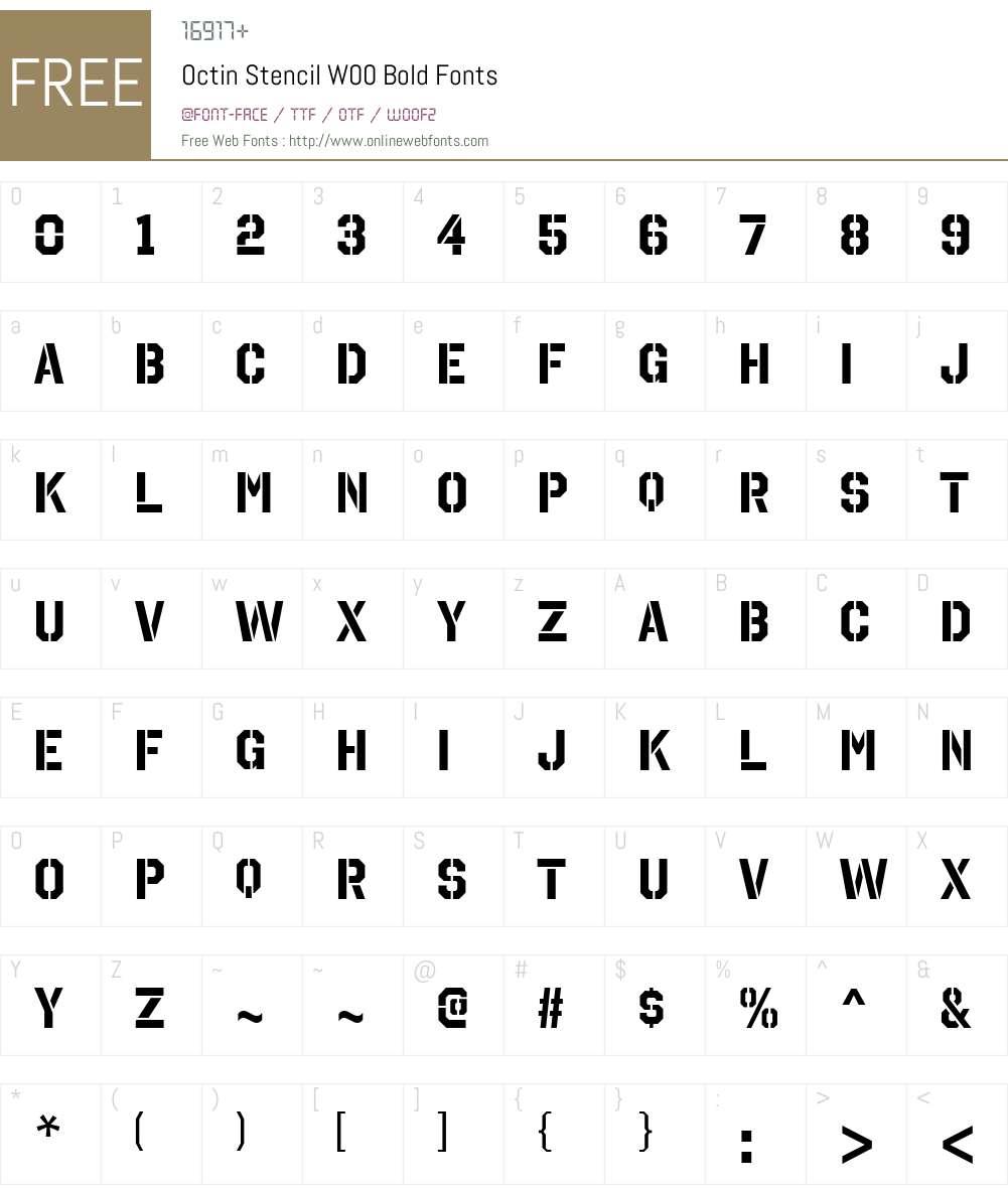 OctinStencilW00-Bold Font Screenshots