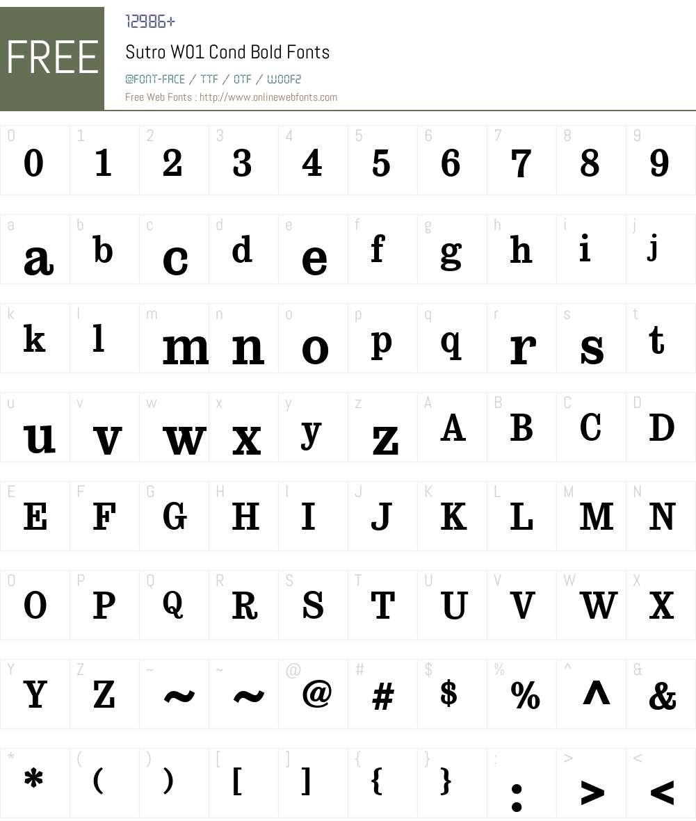 SutroW01-CondBold Font Screenshots