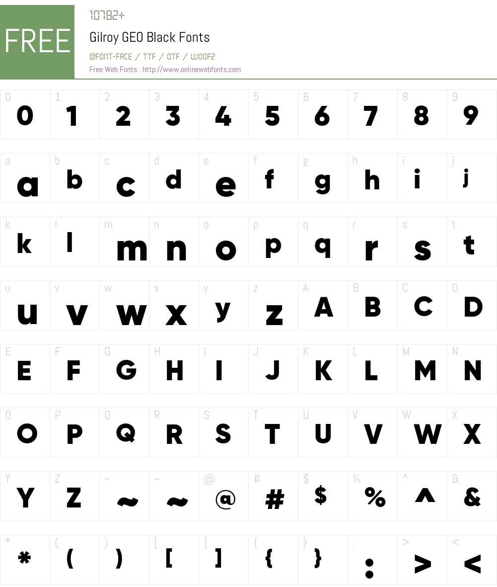 Gilroy GEO Black Font Screenshots