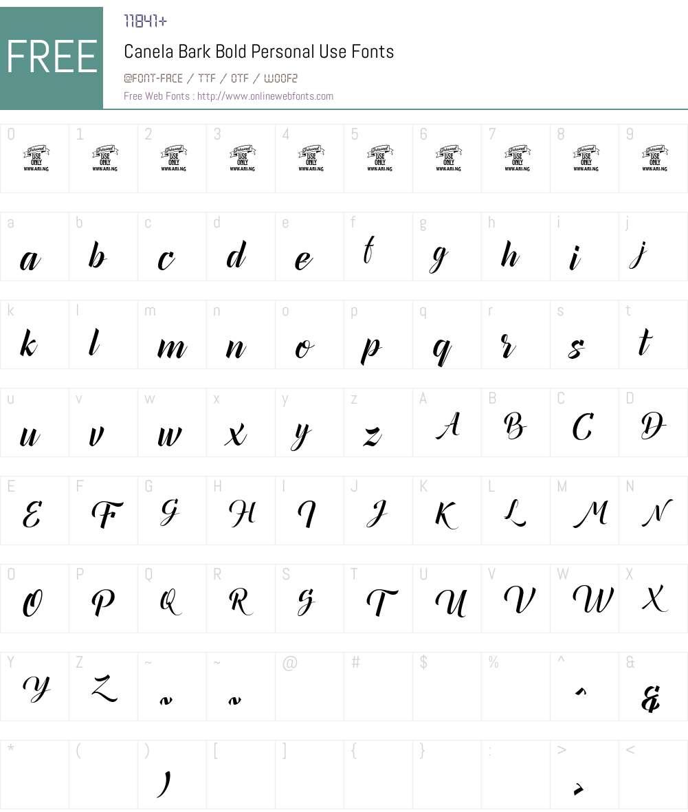 Canela Bark Bold Personal Use Font Screenshots