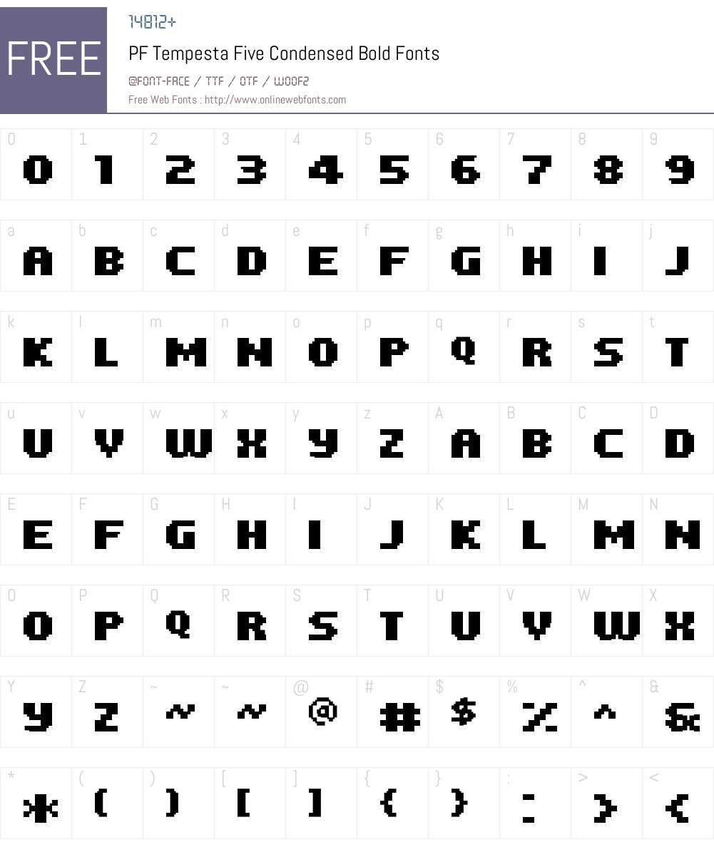 PF Tempesta Five Condensed Font Screenshots