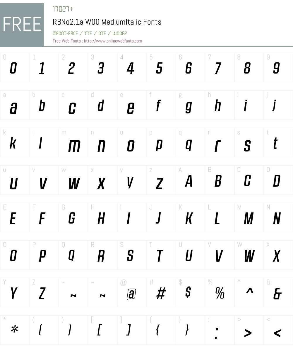 RBNo2.1aW00-MediumItalic Font Screenshots
