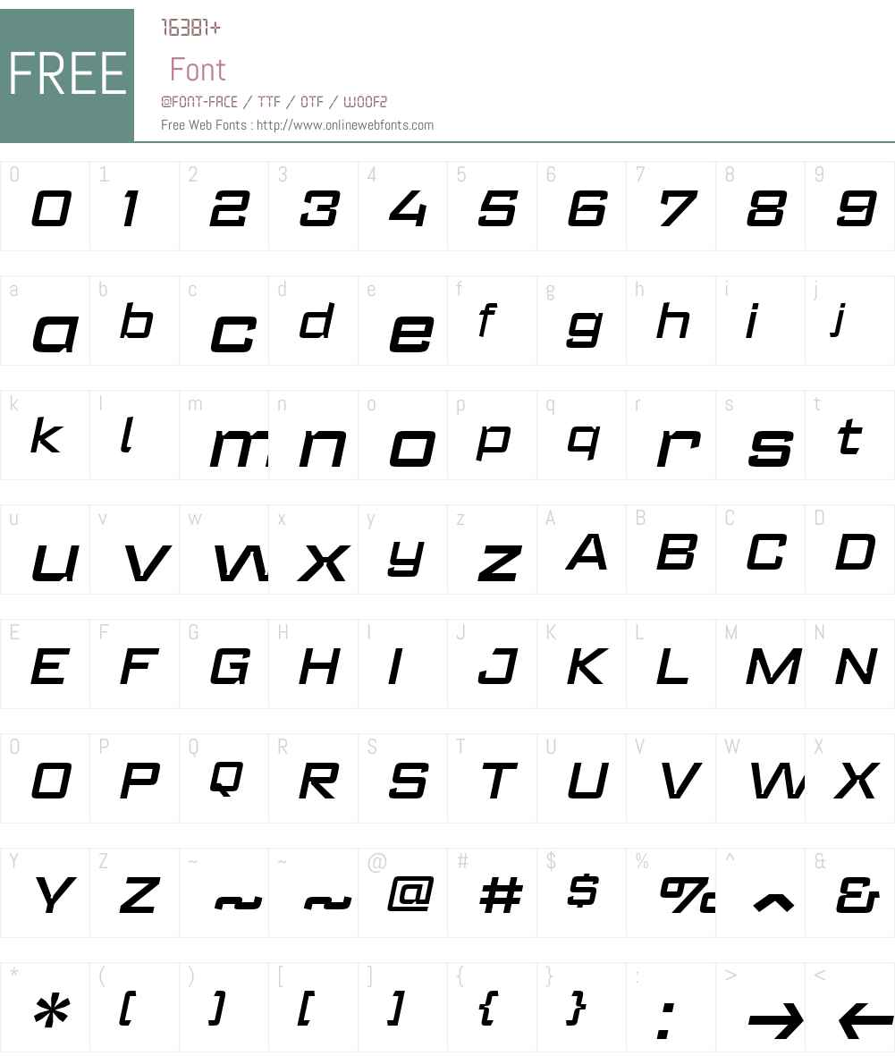RegisterWide-DemiBoldIt Font Screenshots