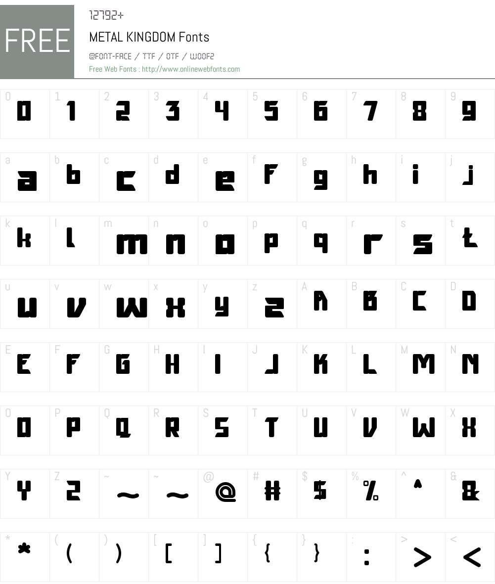 METAL KINGDOM Font Screenshots