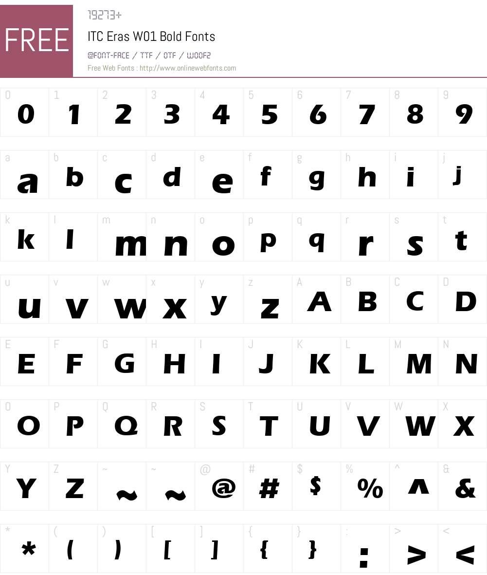 ITCErasW01-Bold Font Screenshots