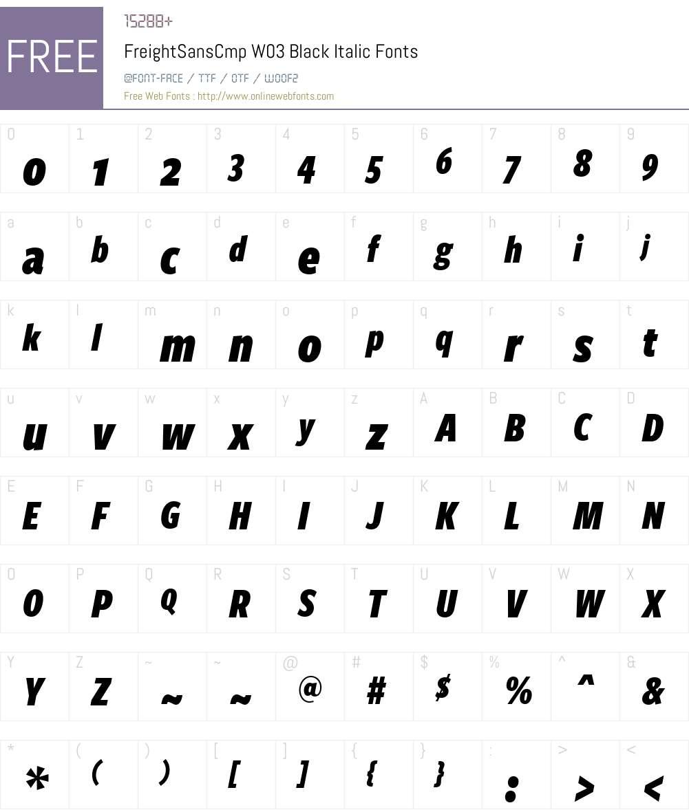 Freight Sans Compressed Font Screenshots