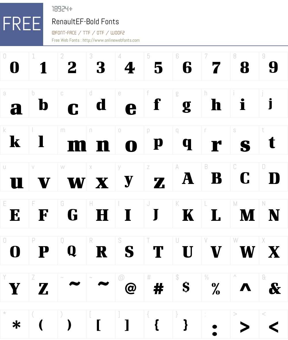 RenaultEF Font Screenshots