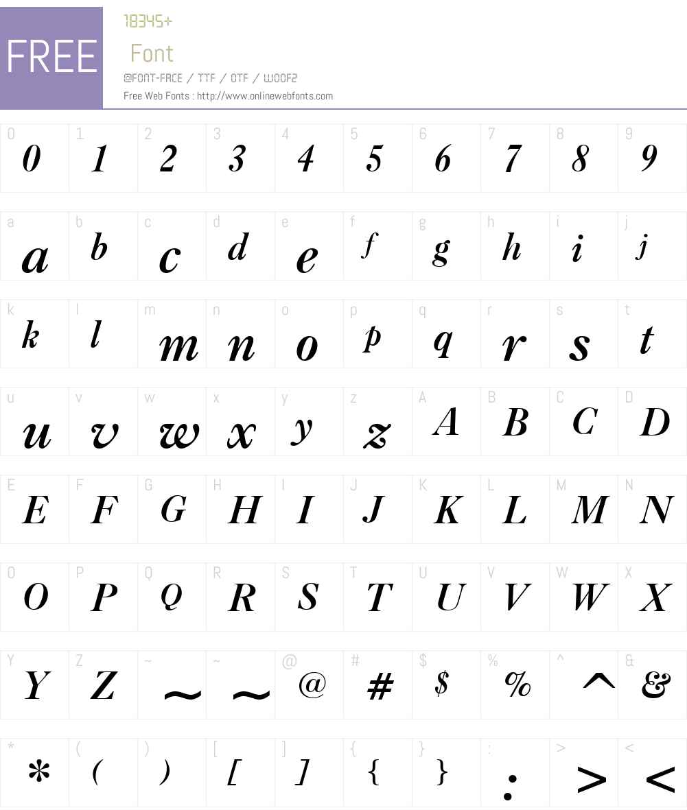 CaslonBoldW01-Italic Font Screenshots