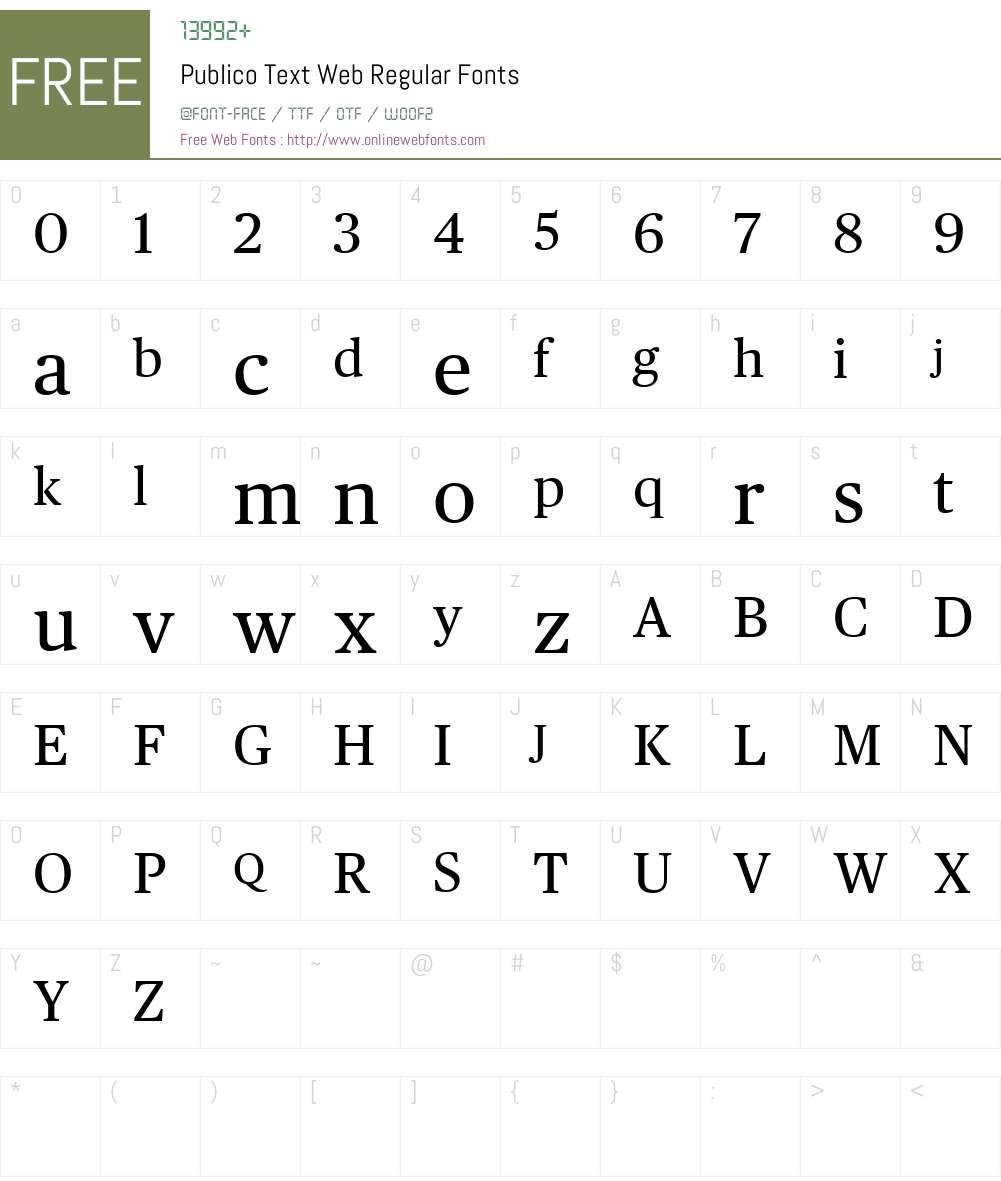 Publico Text Web Font Screenshots