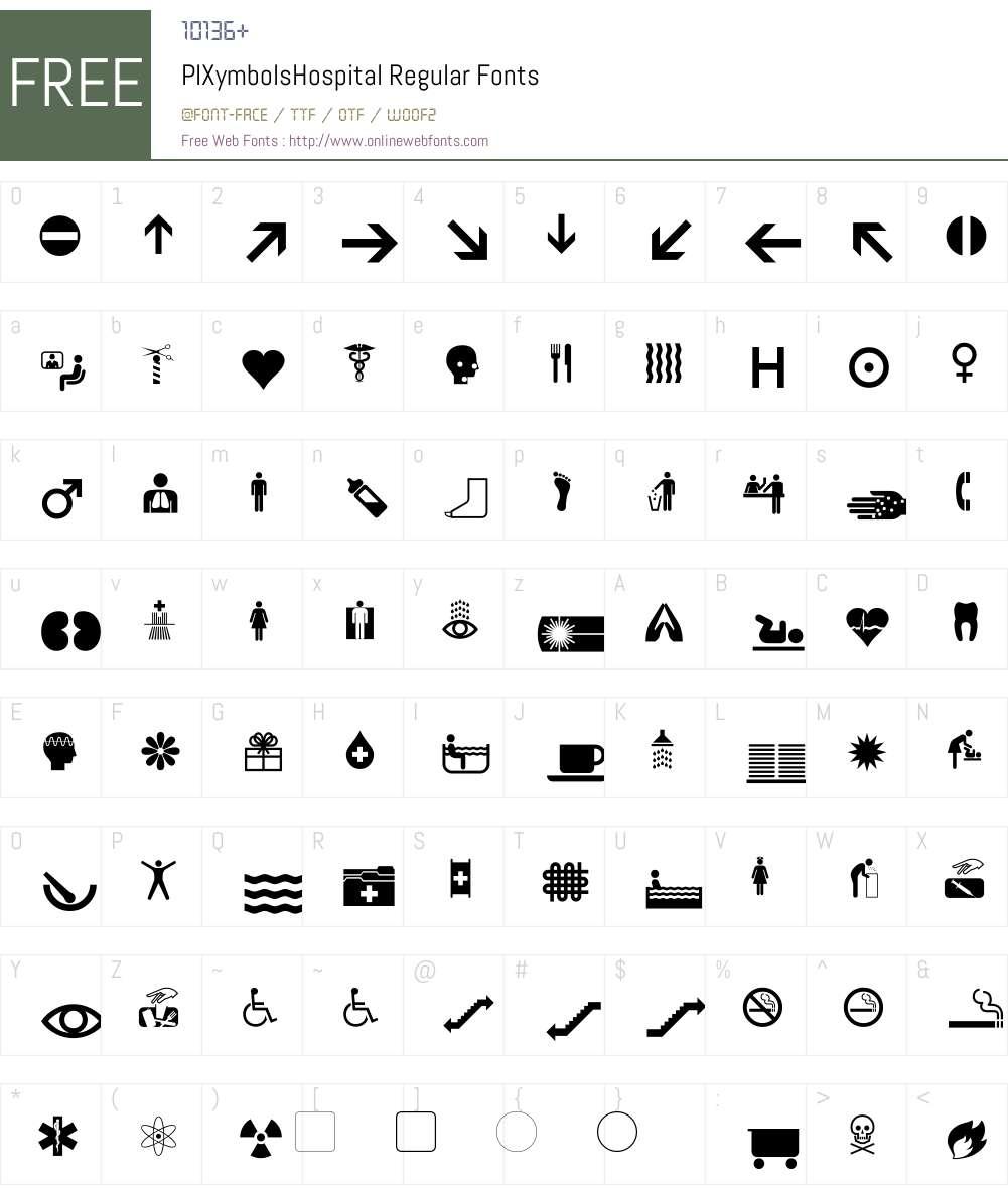 PIXymbolsHospital-Roman Font Screenshots
