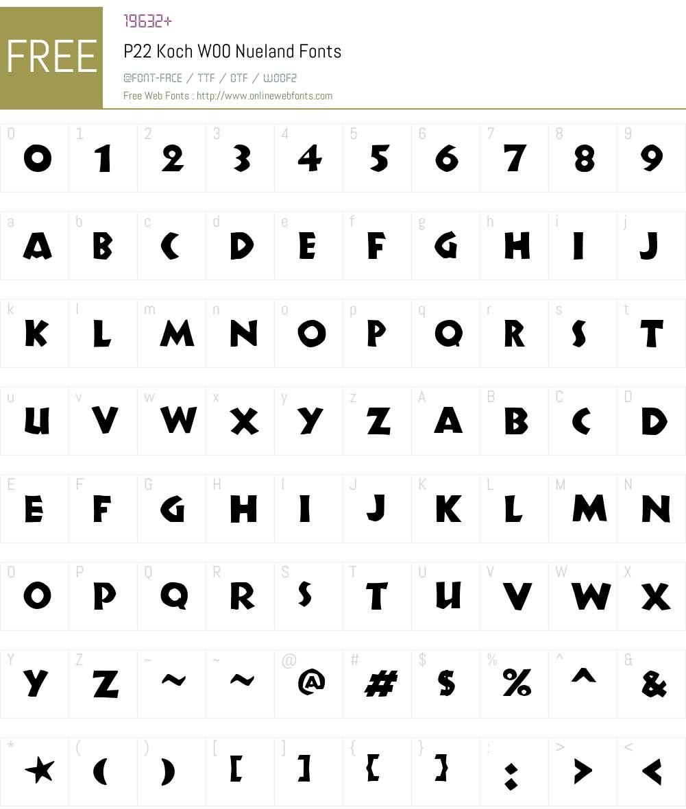 P22KochW00-Nueland Font Screenshots