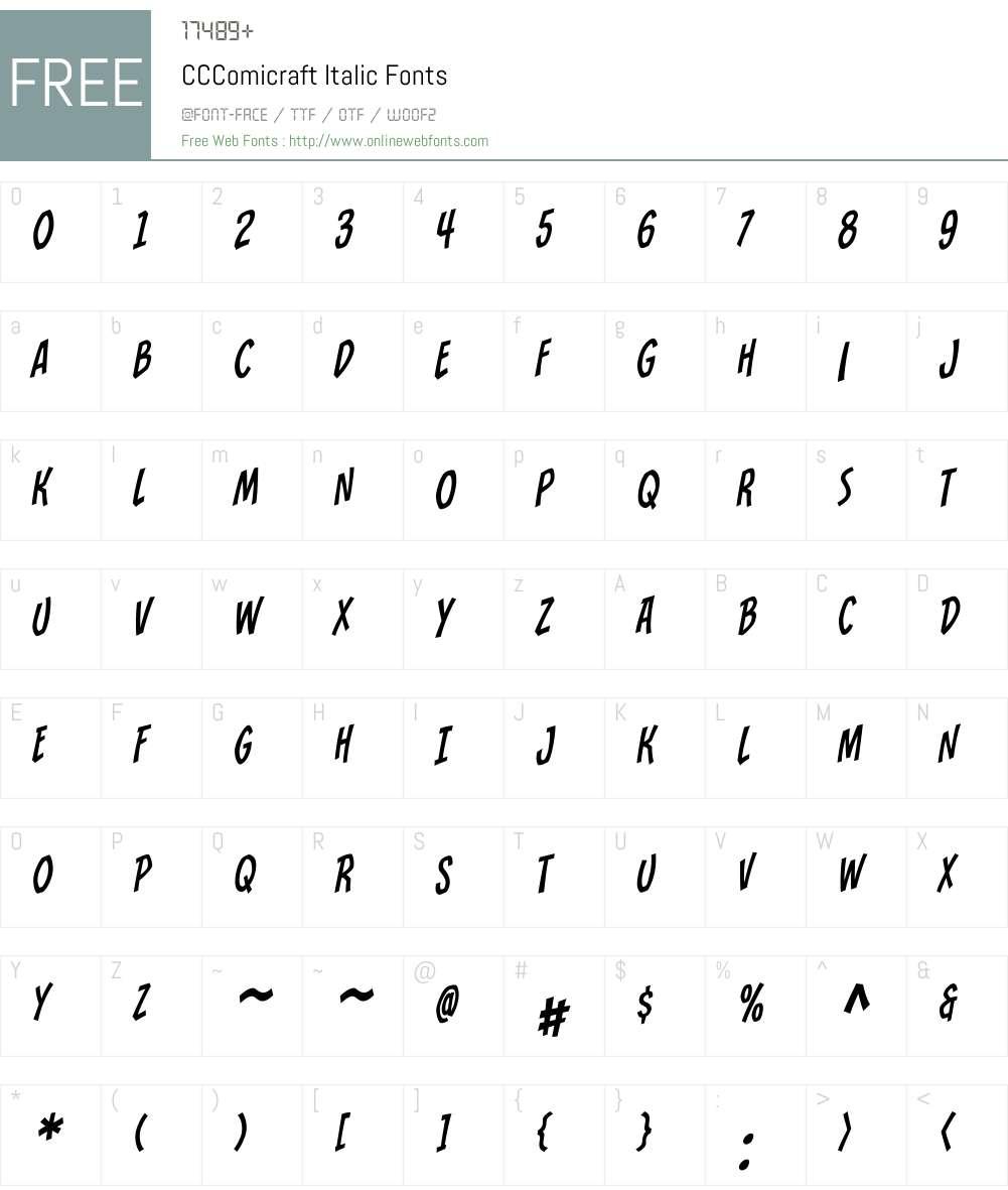 CCComicraft-Italic Font Screenshots