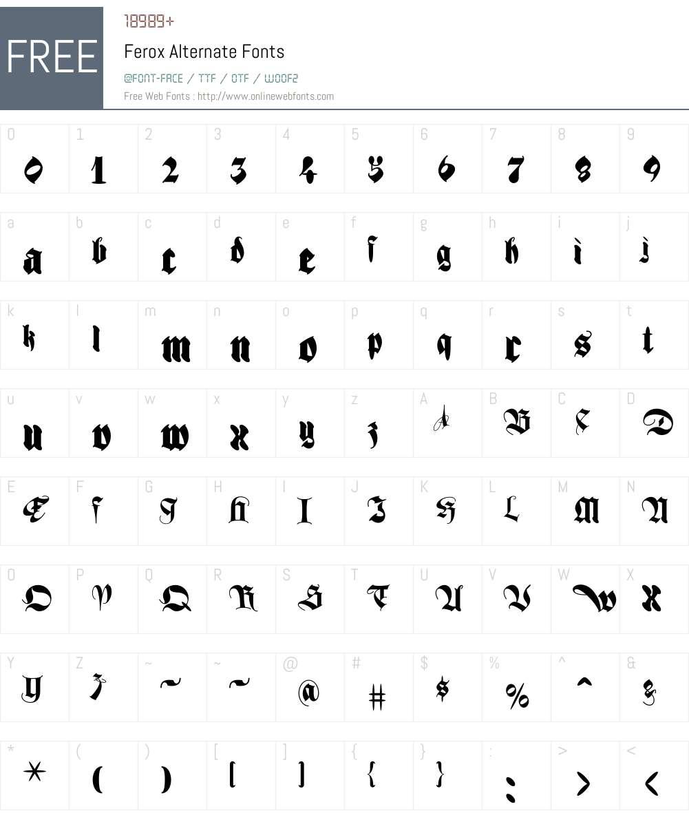 Ferox Font Screenshots