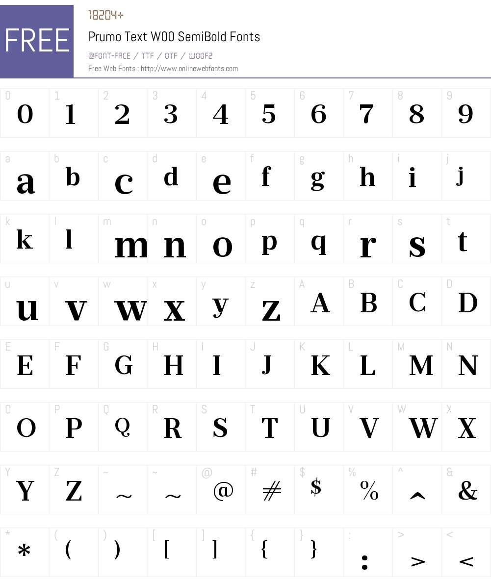 PrumoTextW00-SemiBold Font Screenshots