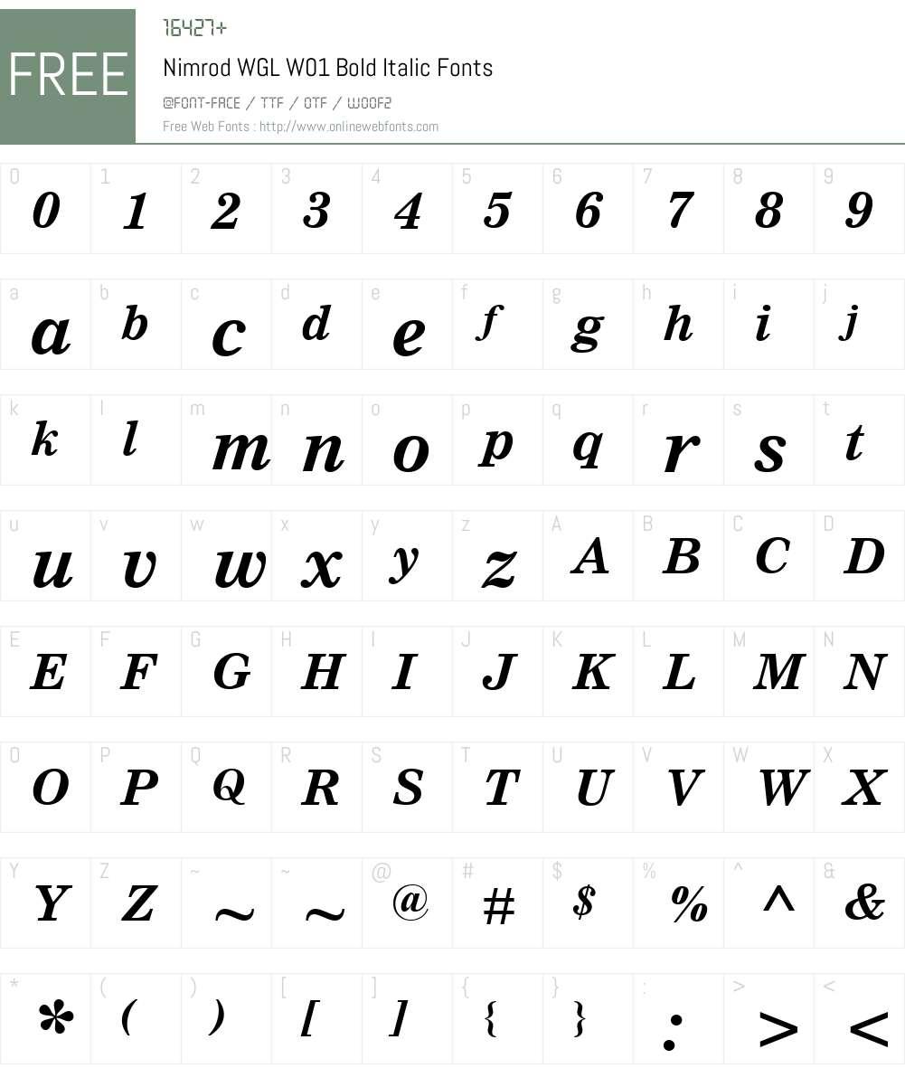 NimrodWGLW01-BoldItalic Font Screenshots