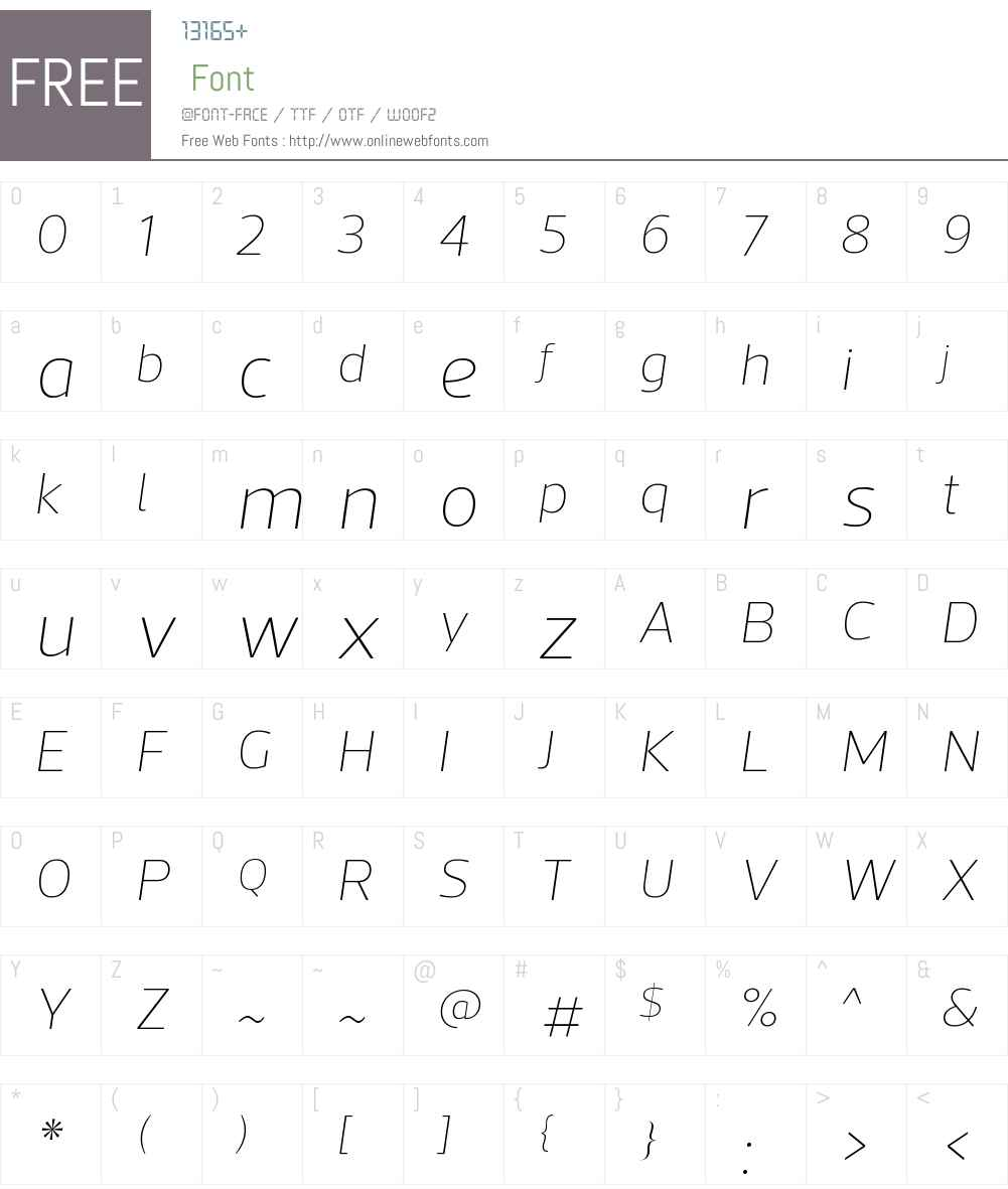 ActoW00-ThinItalic Font Screenshots