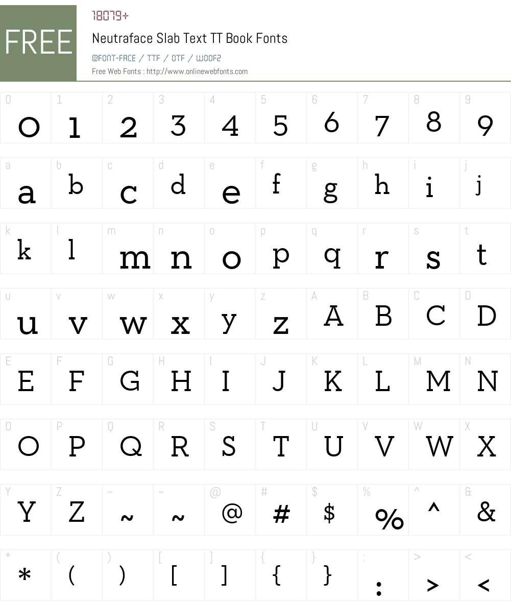 Neutraface Slab Text TT Book Font Screenshots