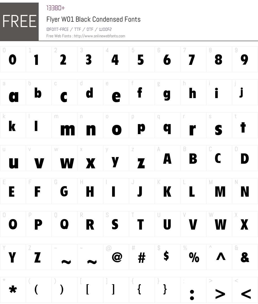FlyerW01-BlackCond Font Screenshots