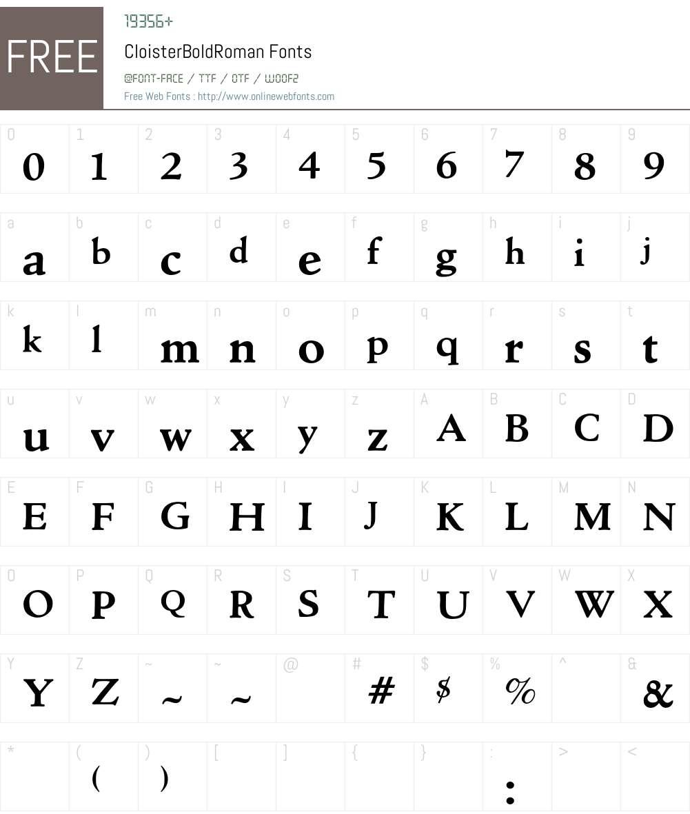 Cloister Font Screenshots