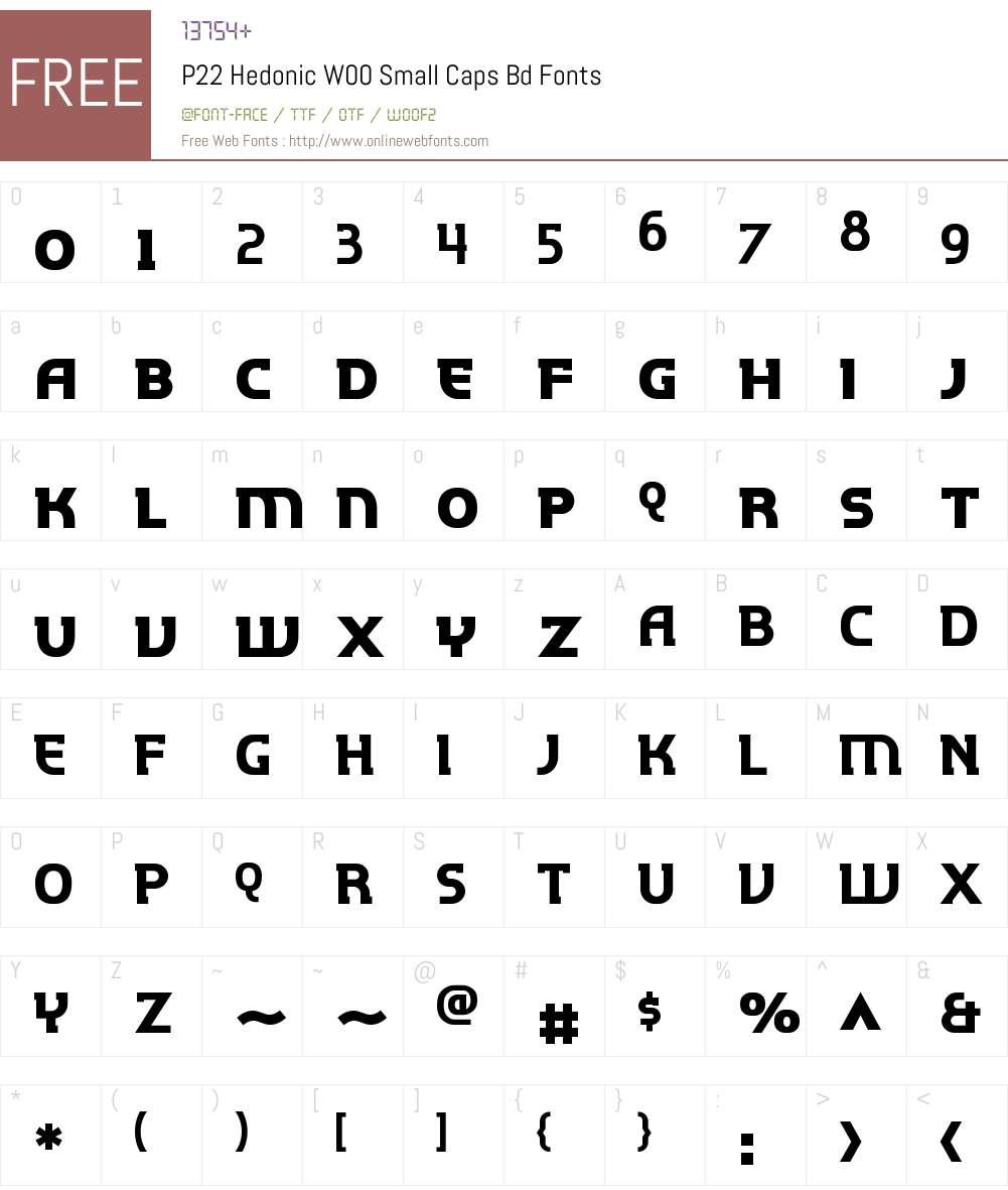 P22 Hedonic Font Screenshots