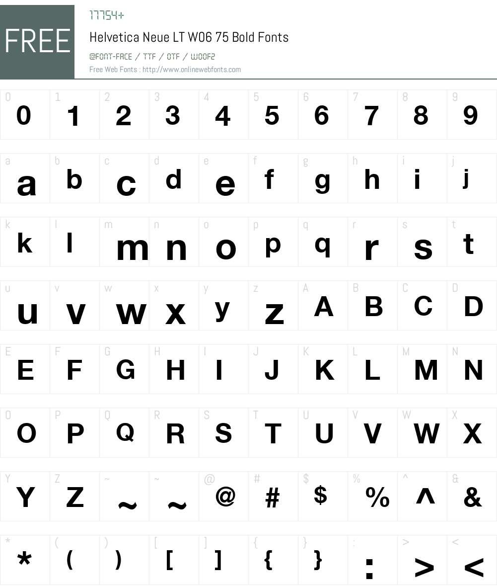 HelveticaNeueLTW06-75Bold Font Screenshots