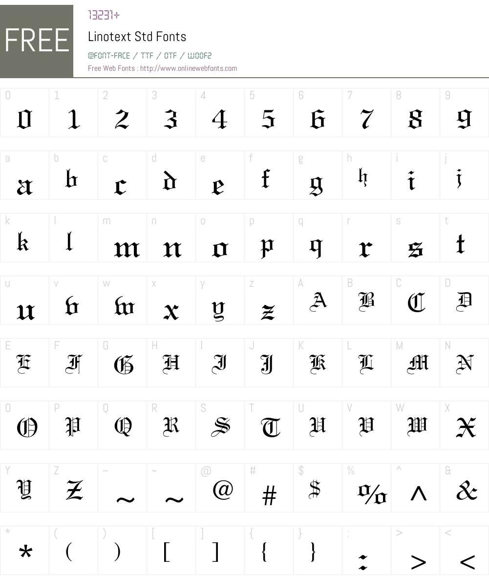 Linotext Std Font Screenshots