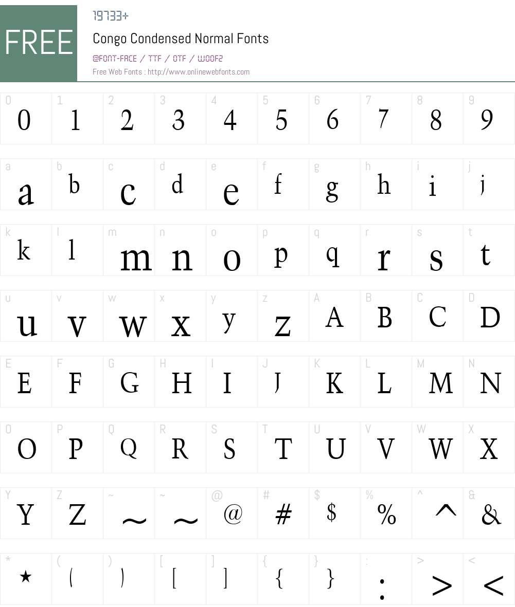 Congo Condensed Font Screenshots