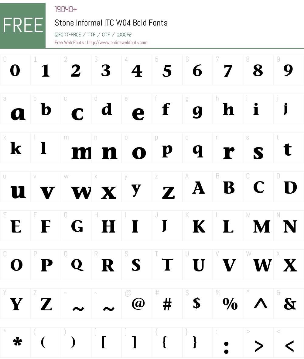 ITC Stone Informal Font Screenshots