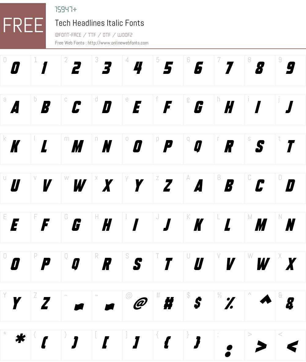 Tech Headlines Font Screenshots