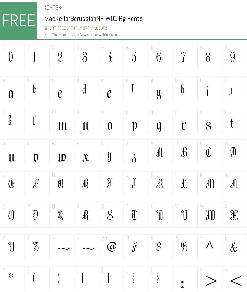 MacKellarBorussianNFW01-Rg Font Screenshots