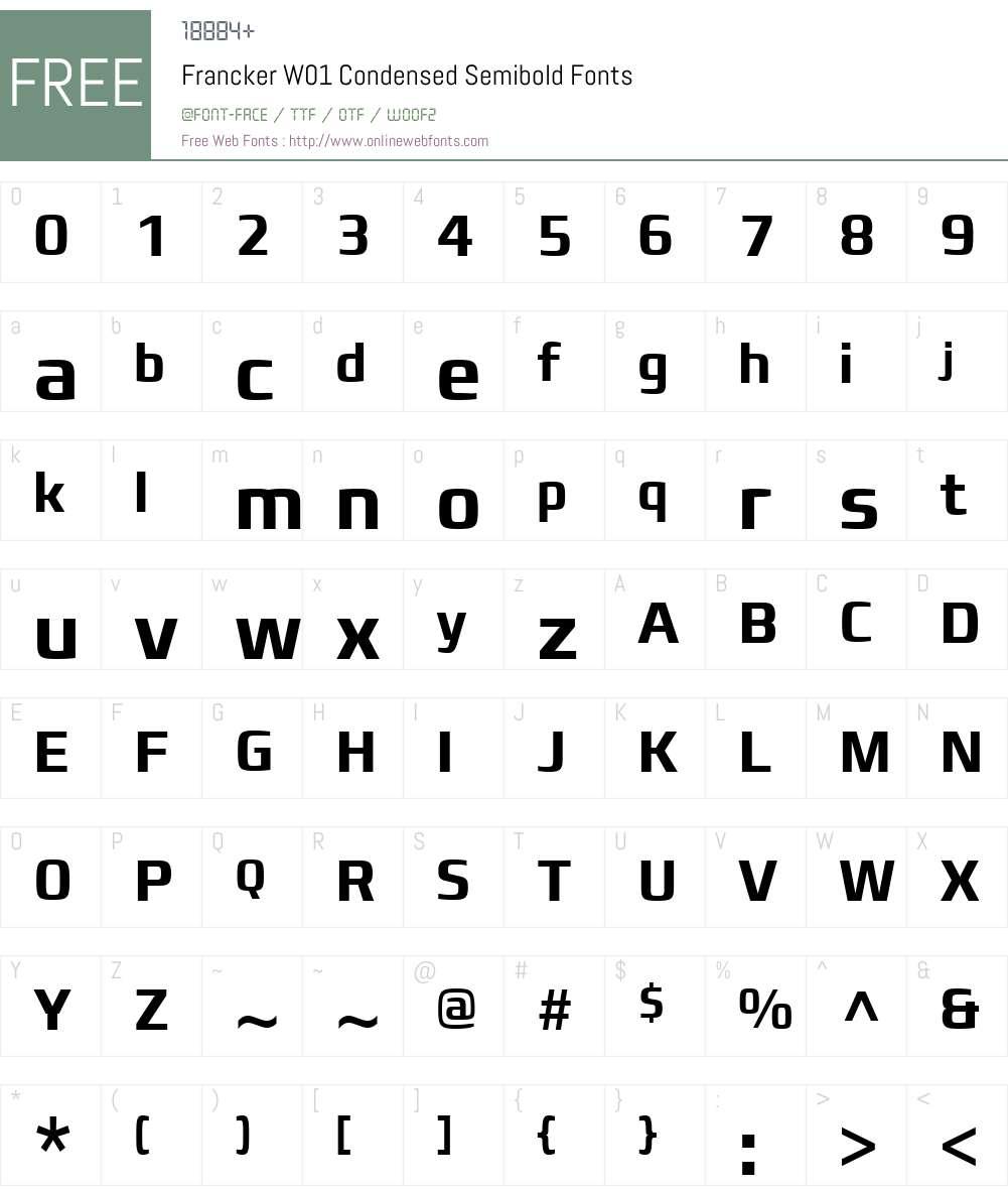 FranckerW01-CondensedSmbold Font Screenshots