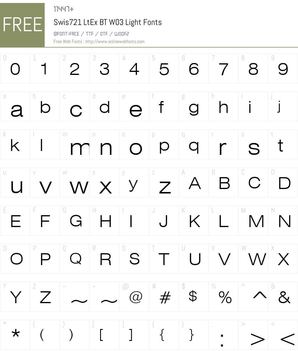 Swiss 721 Font Screenshots