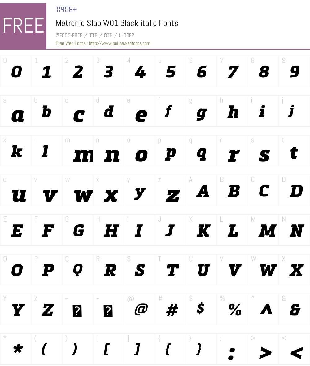 MetronicSlabW01-Blackitalic Font Screenshots