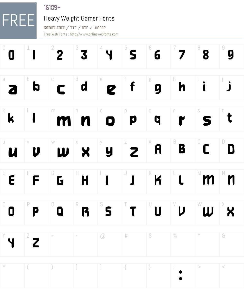 Heavy Weight Gamer Font Screenshots