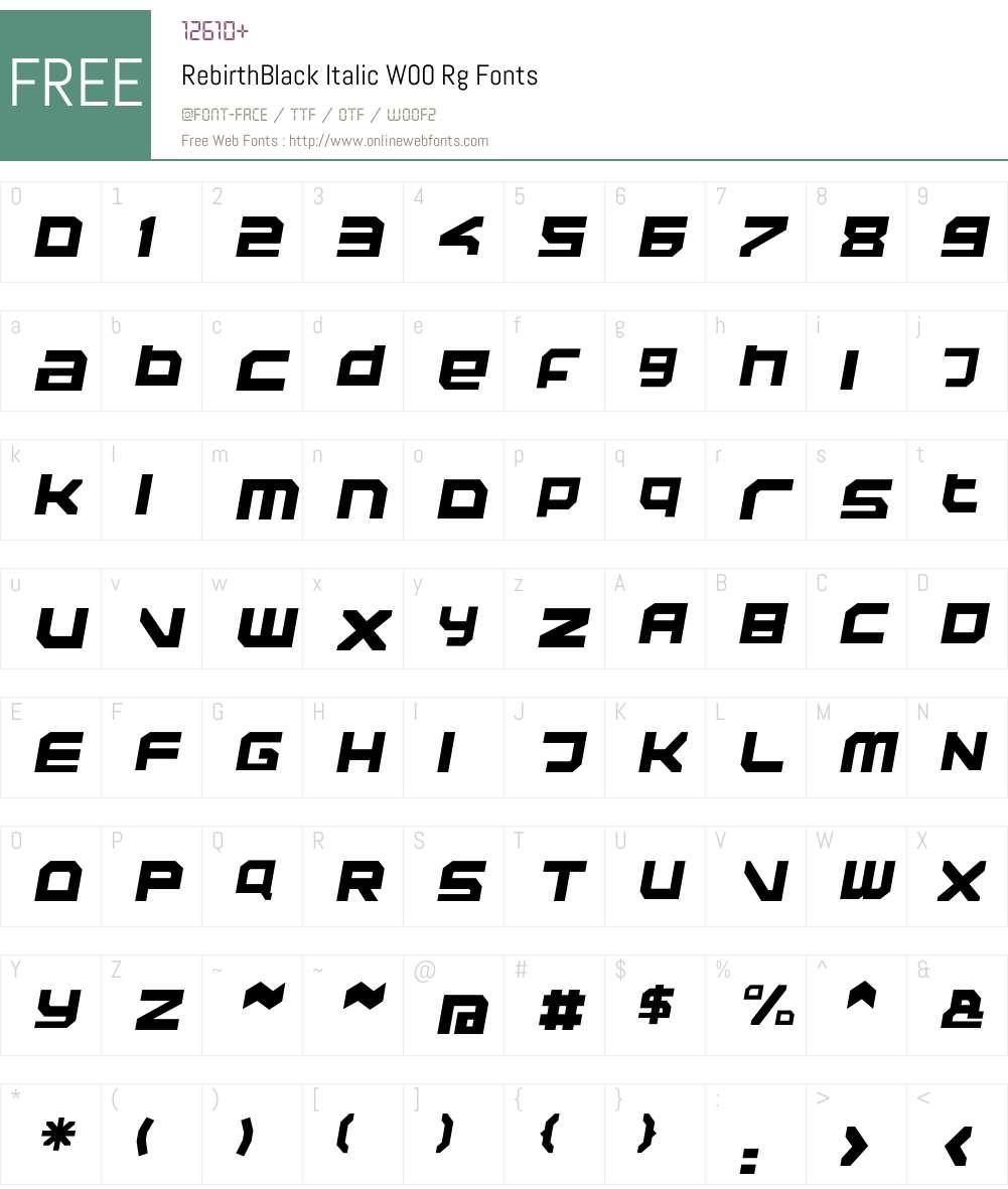 RebirthBlack Italic Font Screenshots