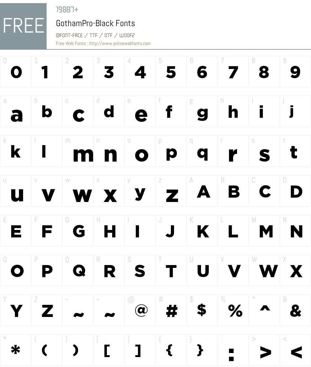 Gotham Pro Black Font Screenshots