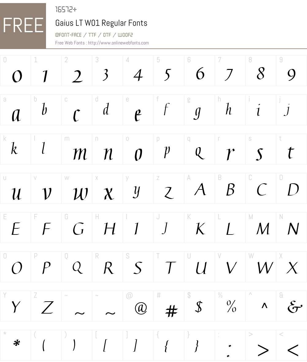 GaiusLTW01-Regular Font Screenshots
