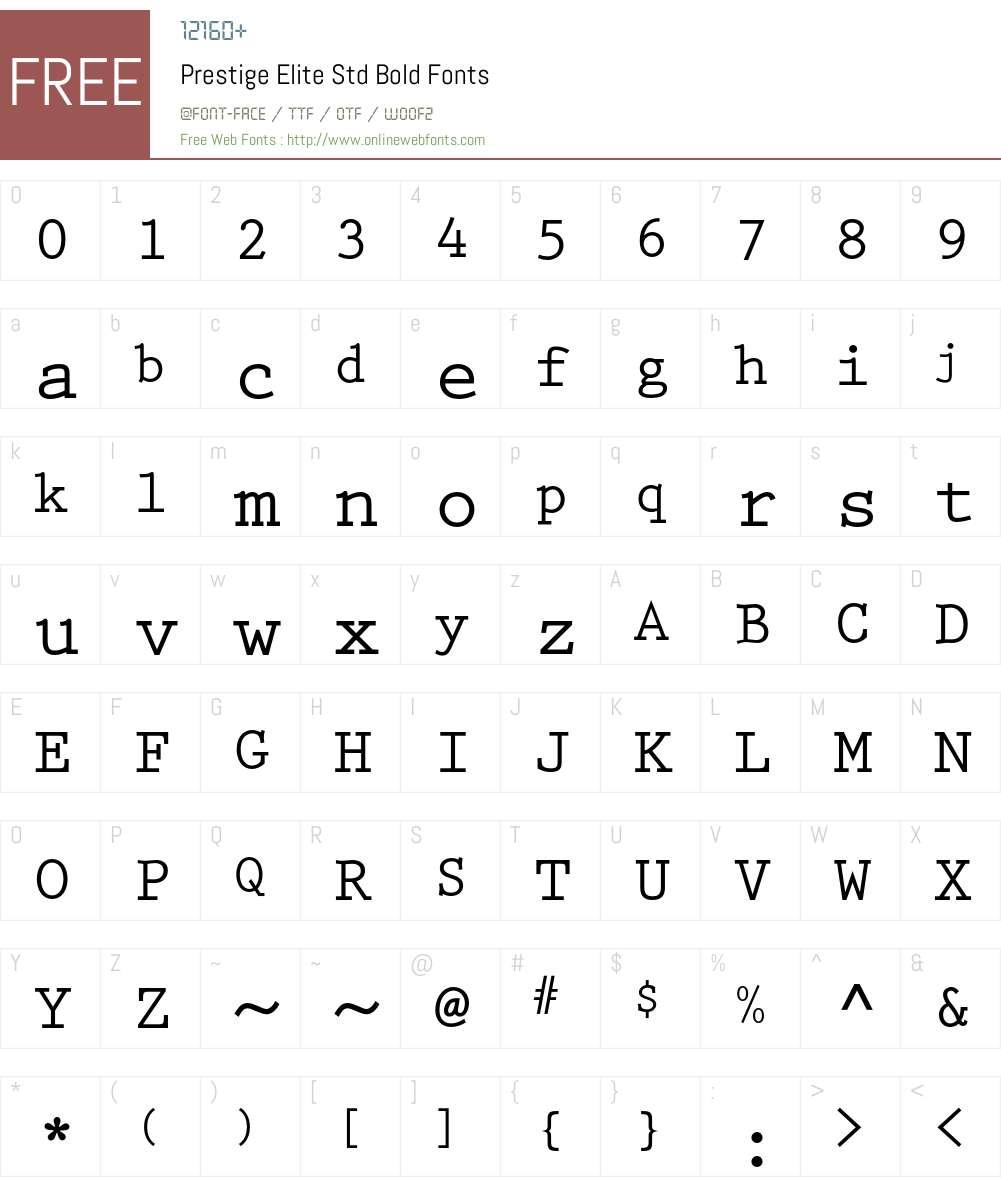Prestige Elite Std Font Screenshots