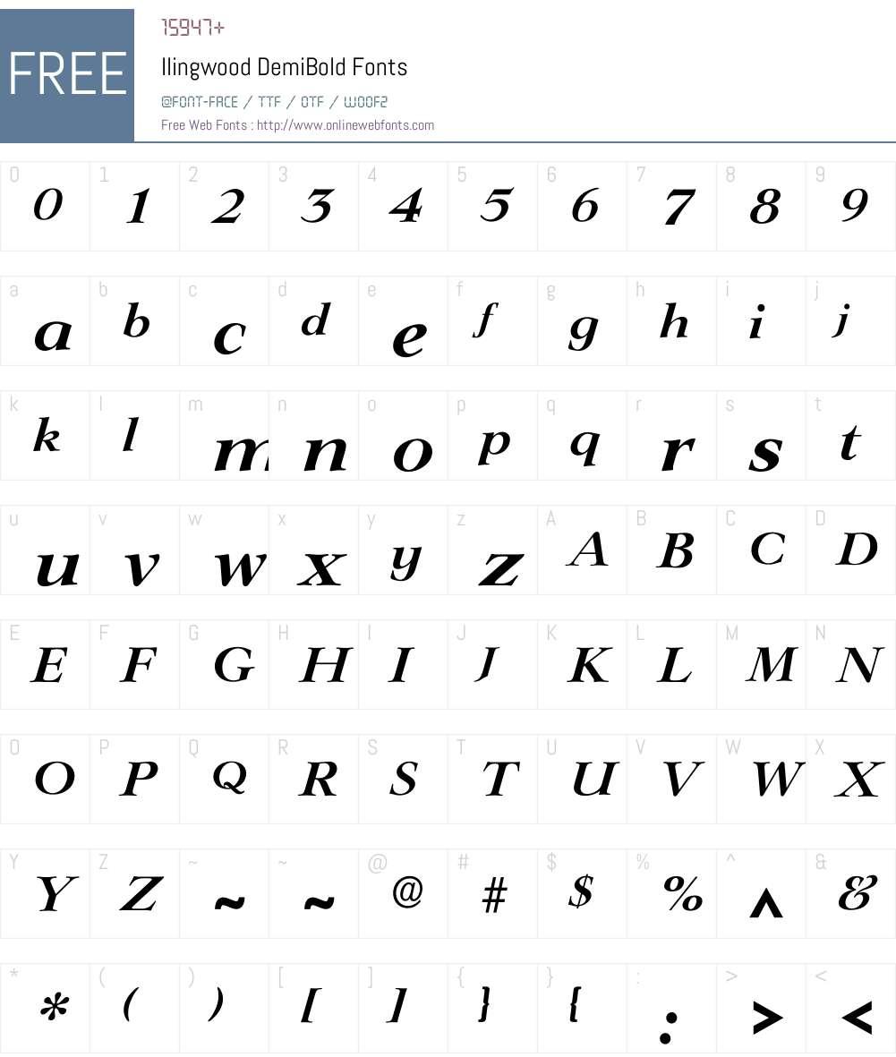 Ilingwood Font Screenshots
